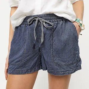 J Crew Seaside Pull On Striped Blue Summer Shorts
